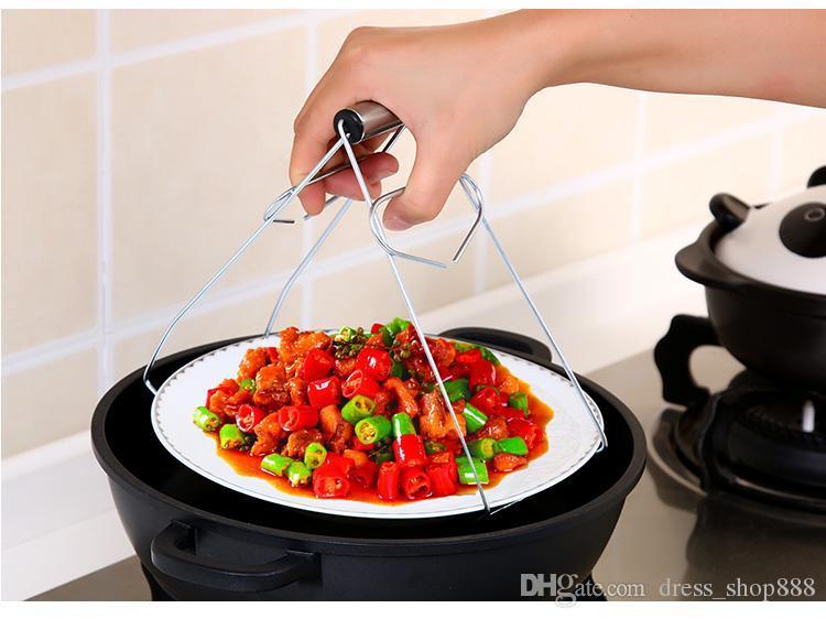 Creatieve Keuken Roestvrijstalen Kom Kom Clip voor het voorkomen van Hot Dish Lade Clamp Universal Bowl nemen apparaat
