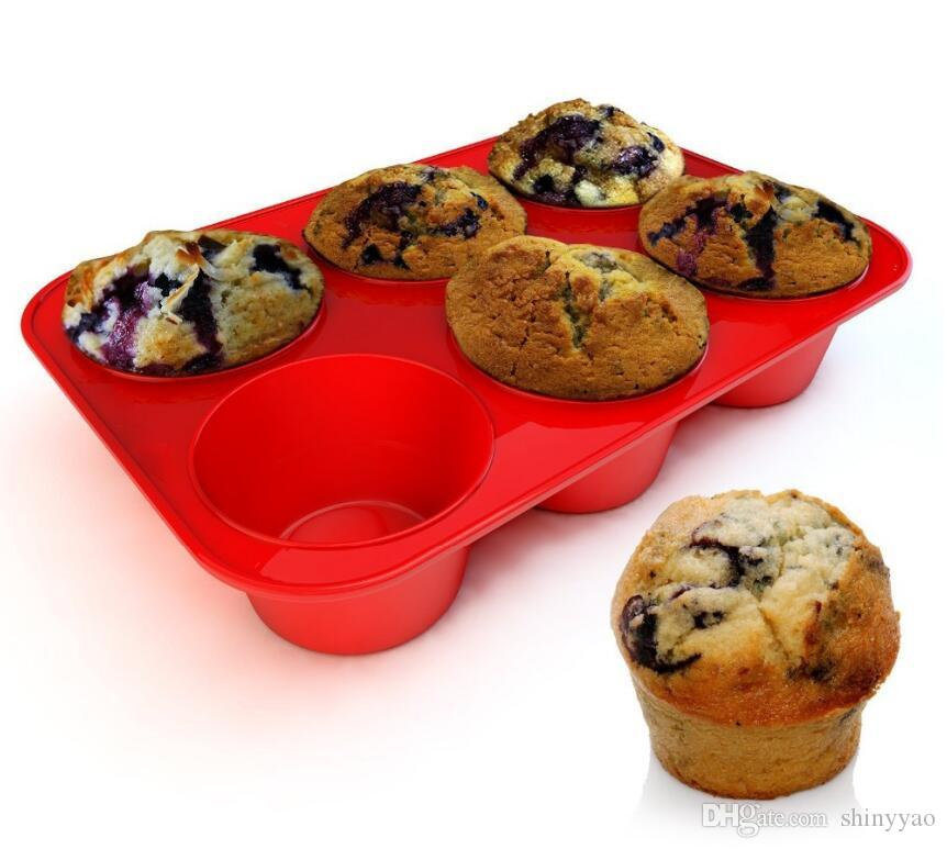 Silicone Non-Stick 6 Cups Cupcake Baking Tray Big Size Muffin Pan Cake Mold