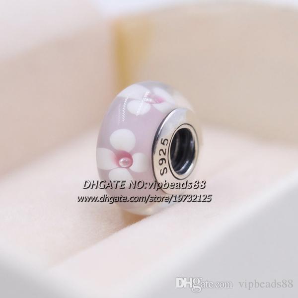 S925 Gioielli in argento sterling Fiori rosa e bianchi Ciondoli in vetro di Murano Misura i braccialetti europei fai da te