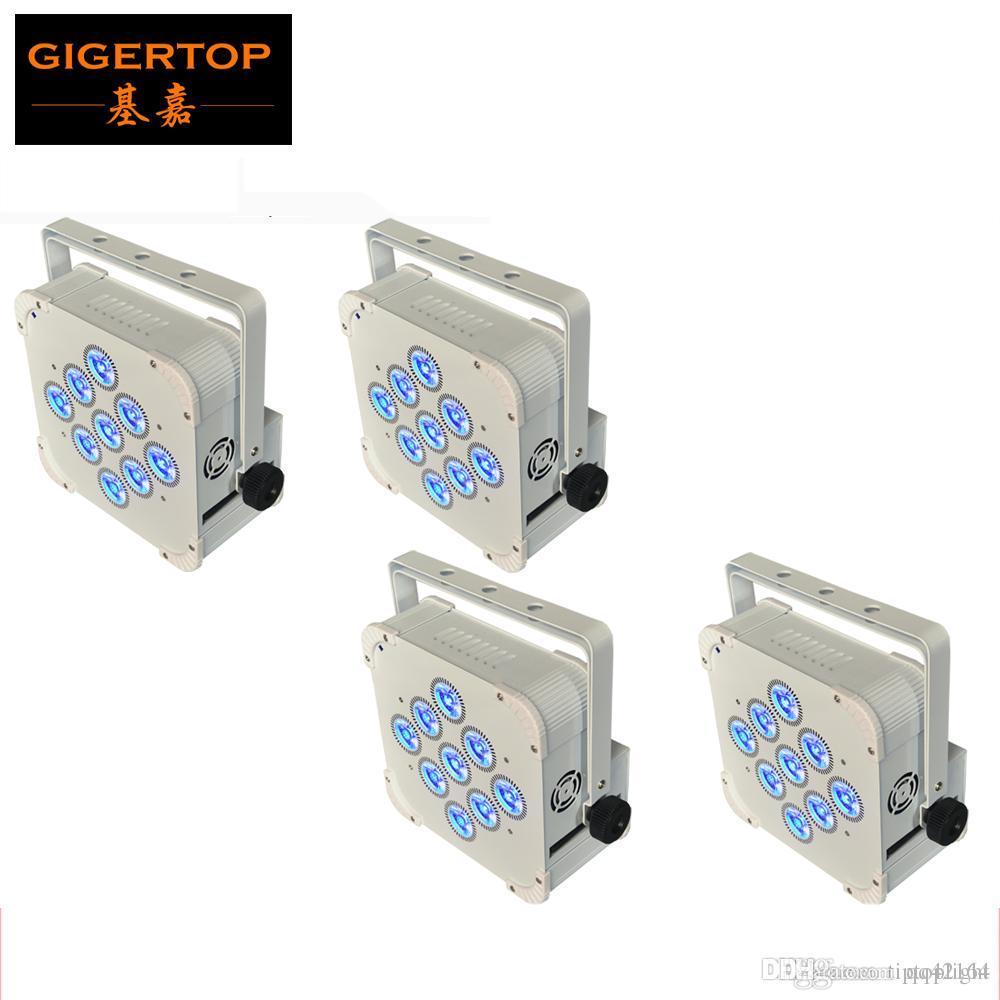 4XLOT الأبيض الألومنيوم الإسكان ريال 9 * 18W البطارية لاسلكية أدى ضوء الاسمية السلطة العليا RGBWA UV 6IN1 الذكية DMX المرحلة التحكم في الإضاءة TP-B01