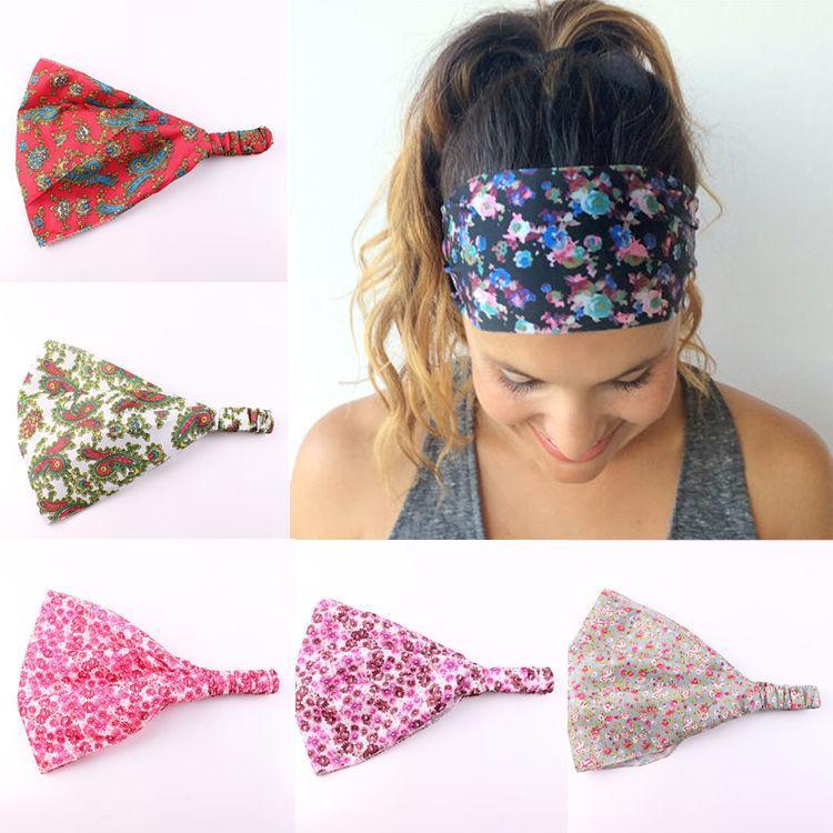 2016 Frauen Breite Stirnband Bandanas Print Floral Blumenkopf Wraps Haarband # R598