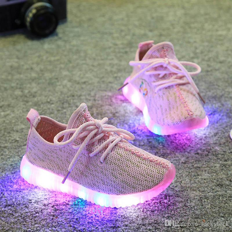 2fa8e7574a18 2018 Children Shoes For Kids Light Up Shoes Boys Mesh Breathable Sport Led  Sneakers Teenager Girls Running Shoes School Trainers