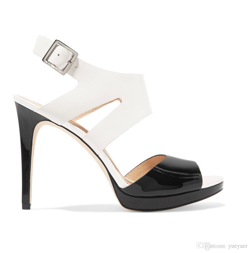 Zandina Damenmode Schuhe 10 cm High Heel Sommer Strand Lackleder Sandalen Für Party Prom Weiß