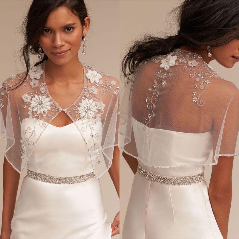 Ivory Crystal Bridal Wraps Appliqued Bridal Coat Lace Jackets Wedding Capes Wraps Bolero Jacket Wedding Dress Wraps Custom Made