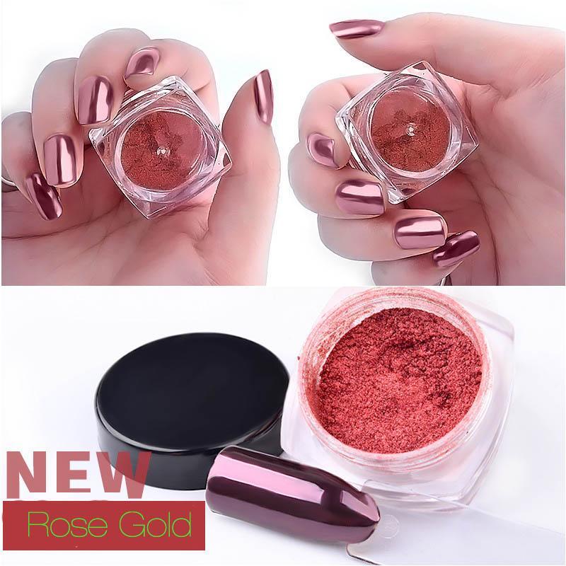 New 2g Nail Glitter Rose Gold Mirror Chrome Powder Dust Shiny Magic Mirror Effect Nails Art Pigment Manicure Decorations