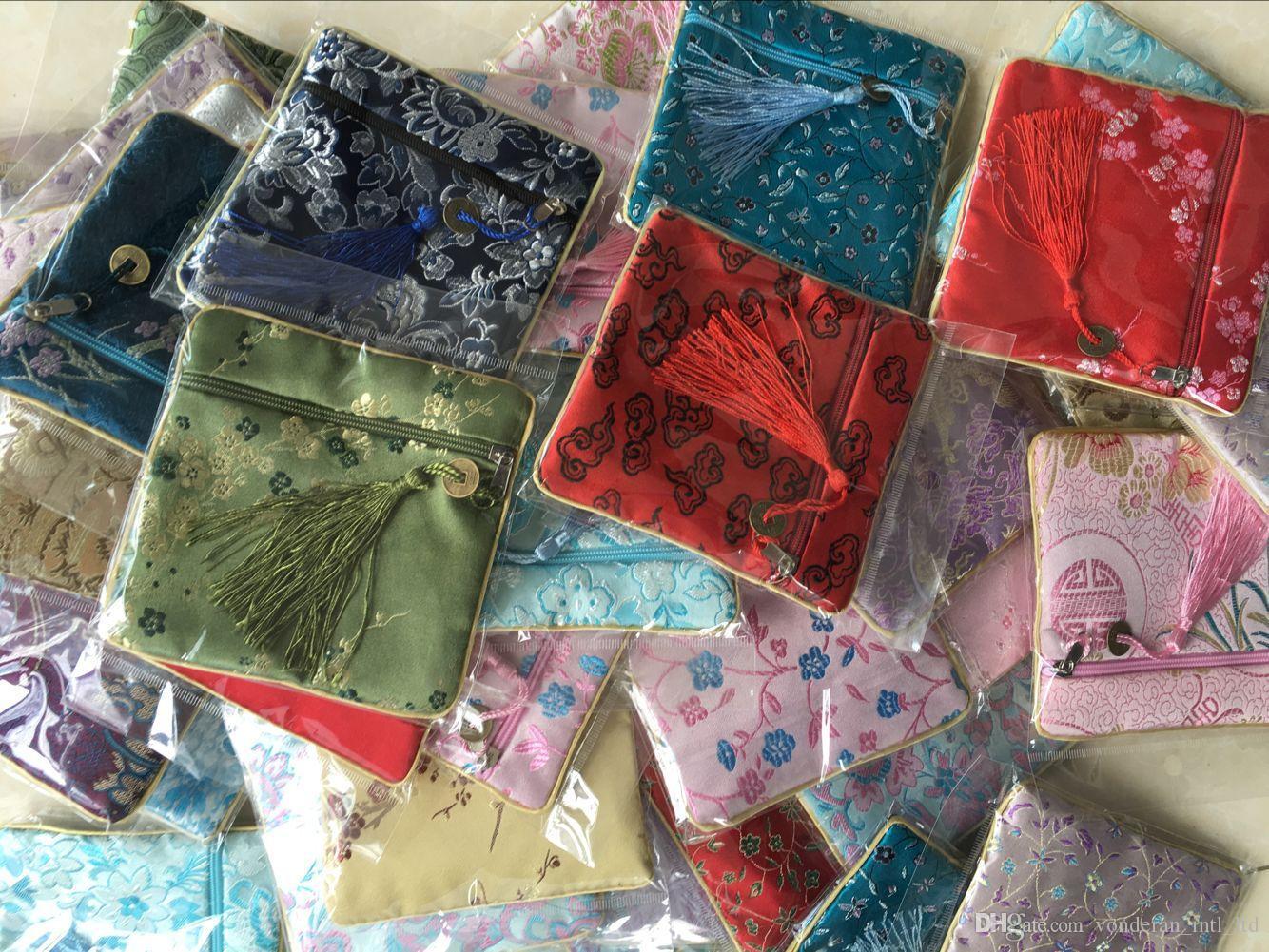 الحرير الخرز محفظة صغيرة أكياس النمط الصيني أكياس الحقيبة الصغيرة مجوهرات كوين أكياس