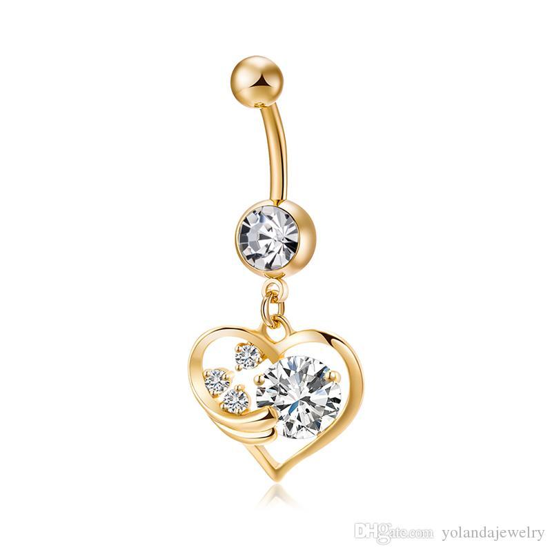 100% nueva marca de moda de alta calidad 18 K chapado en oro amarillo anillos de amor del ángulo del corazón del anillo para las mujeres joyería del cuerpo