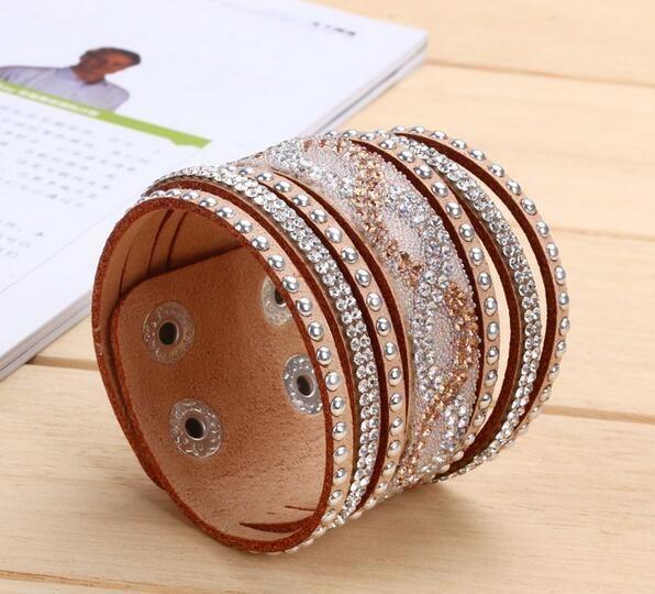 10 nuevos colores unisex de múltiples capas de cuero de las pulseras del encanto del regalo de Navidad de la vendimia de la pulsera de la joyería para las mujeres Pulsera 2017 G33