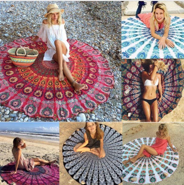 Round Bikini Cover Ups Beach Beach Towel Bikini Cover Ups Bohemian Hippie Beachwear Chiffon Beach Sarongs Shawl Bath Towel Yoga Mat