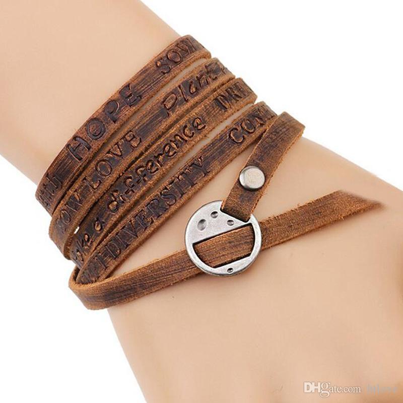 Retro Vintage Multi-Wrap Brown Handmade Wrap leather English Letters Bangle Charm Bracelet Women Men Jewelry Free Shipping