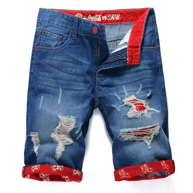 All'ingrosso estate allentati uomini brevi jeans denim pantaloni da uomo Shorts Jeans Pantaloni Moda Uomo Casual Jeans con fori più il formato 3 Stile