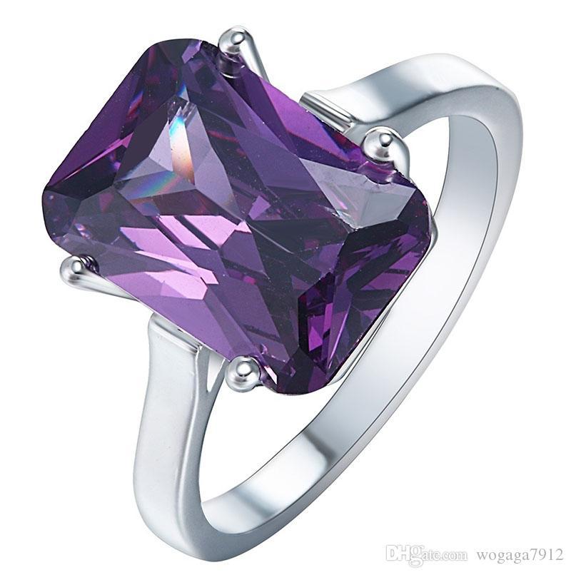 Оптовая Моды Женщин 925 Стерлингового Серебра Аметист Обручальное Кольцо Размер 6 7 8 9 10