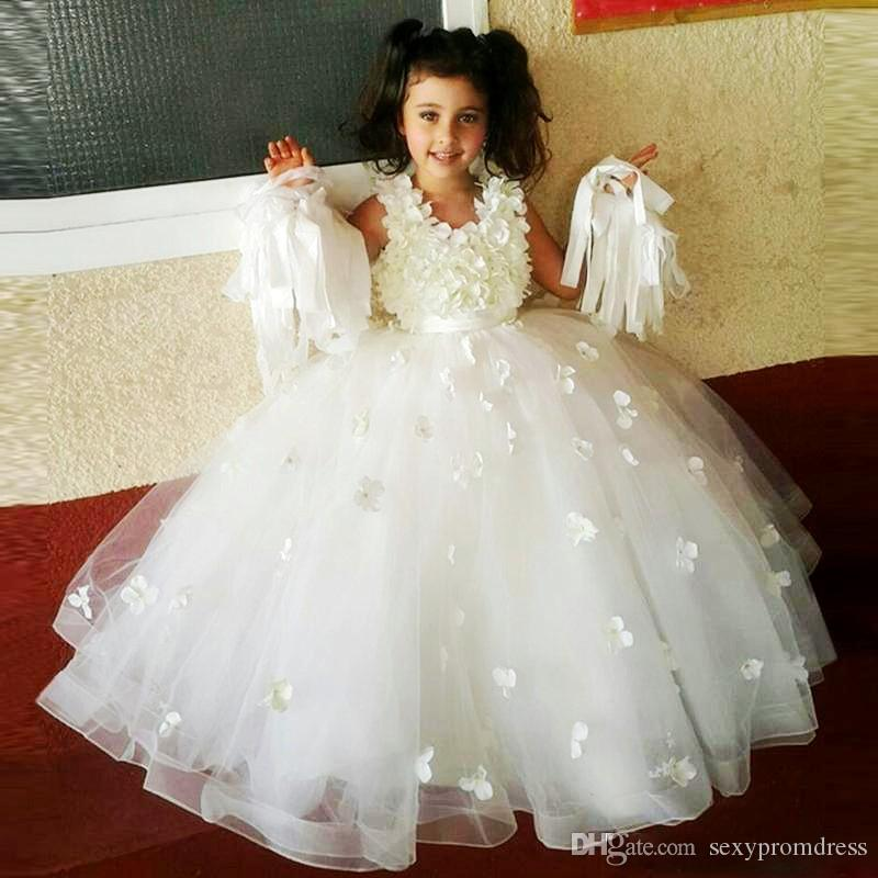 Ivory Ball Gown Flower Girl Dresses For Wedding Flora Appliques Sleeveless Girls Pageant Gowns Floor Length Children Formal Party Dress