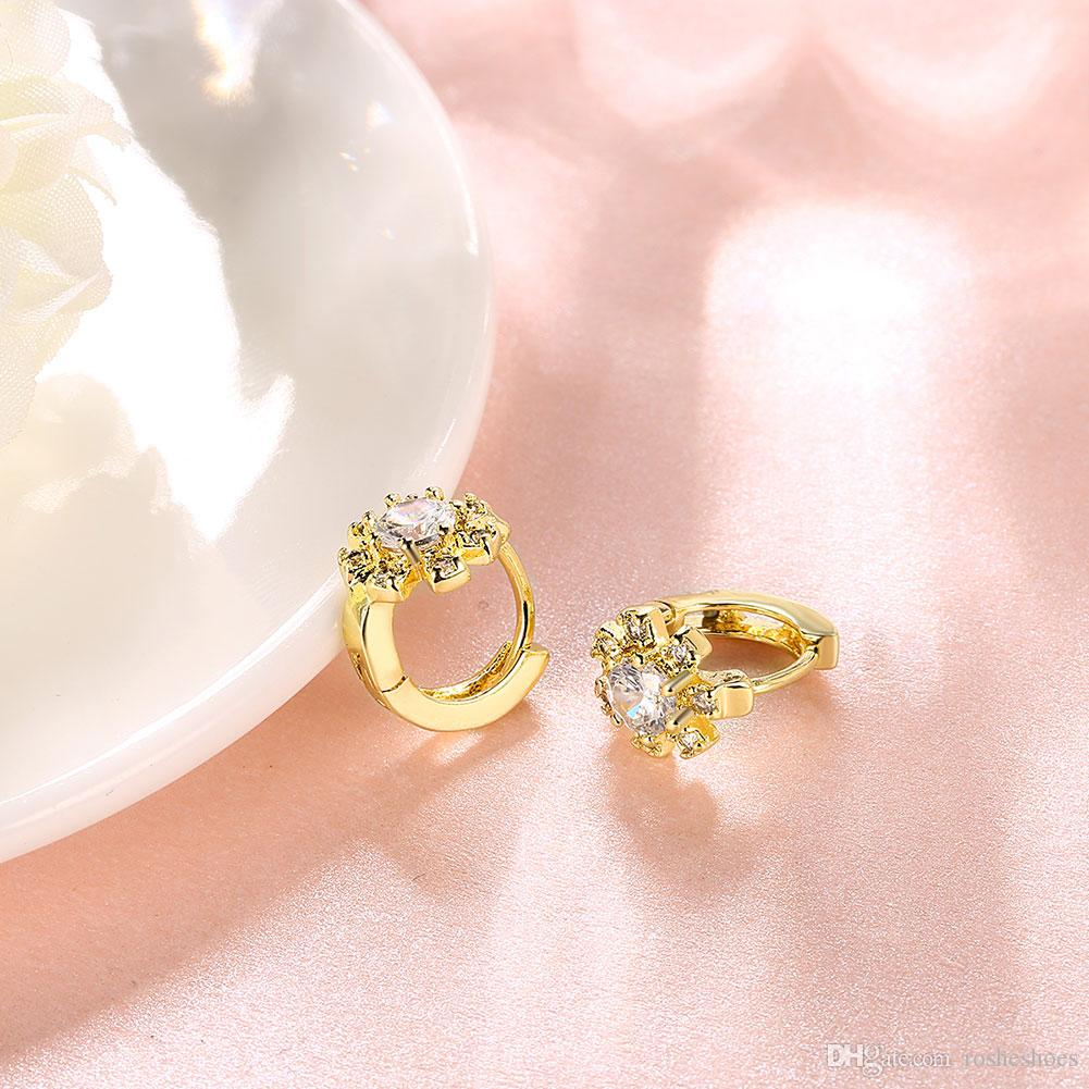 2018 Women 18k Gold Earrings Simulation White Flowers Romantic ...