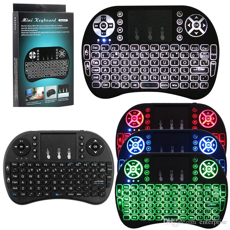 i8 Wireless Backlit Keyboard Keypad With LED Backlight Lithium Battery Air Mouse Remote For MXQ PRO X96 T95 M8S Android Box