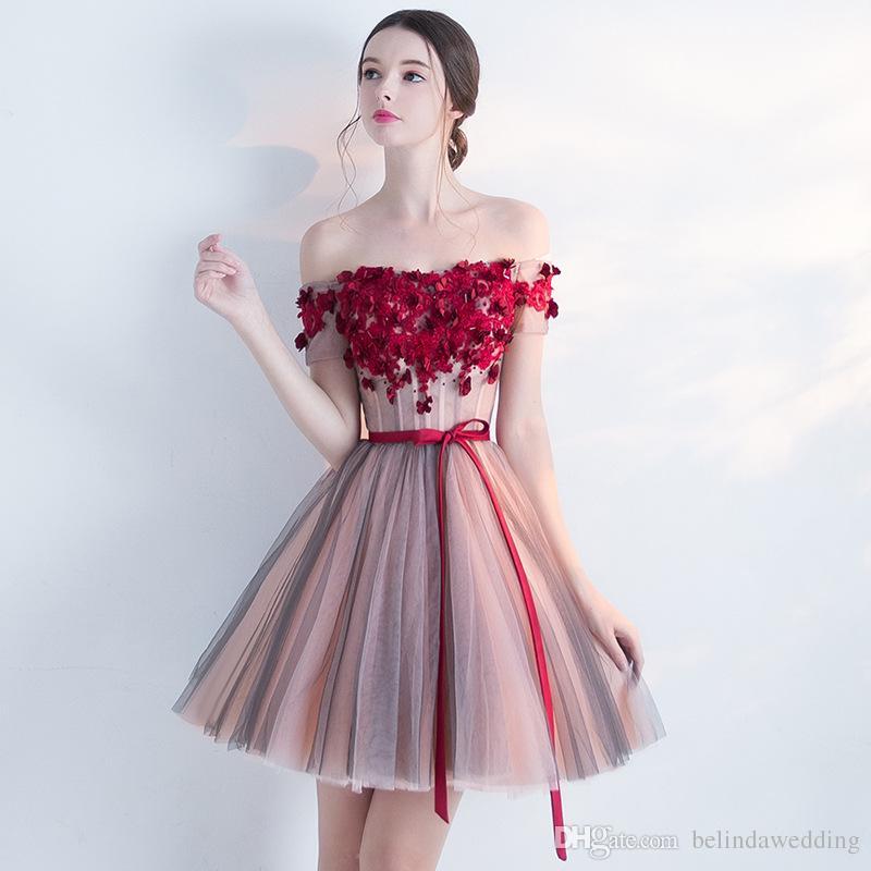 Großhandel Vestidos De Fiesta Cortos Cocktailkleider Party Elegante Frauen Kleid Weg Von Der Schulter Kurz Mini Homecoming Lace Prom Party Kleider Von