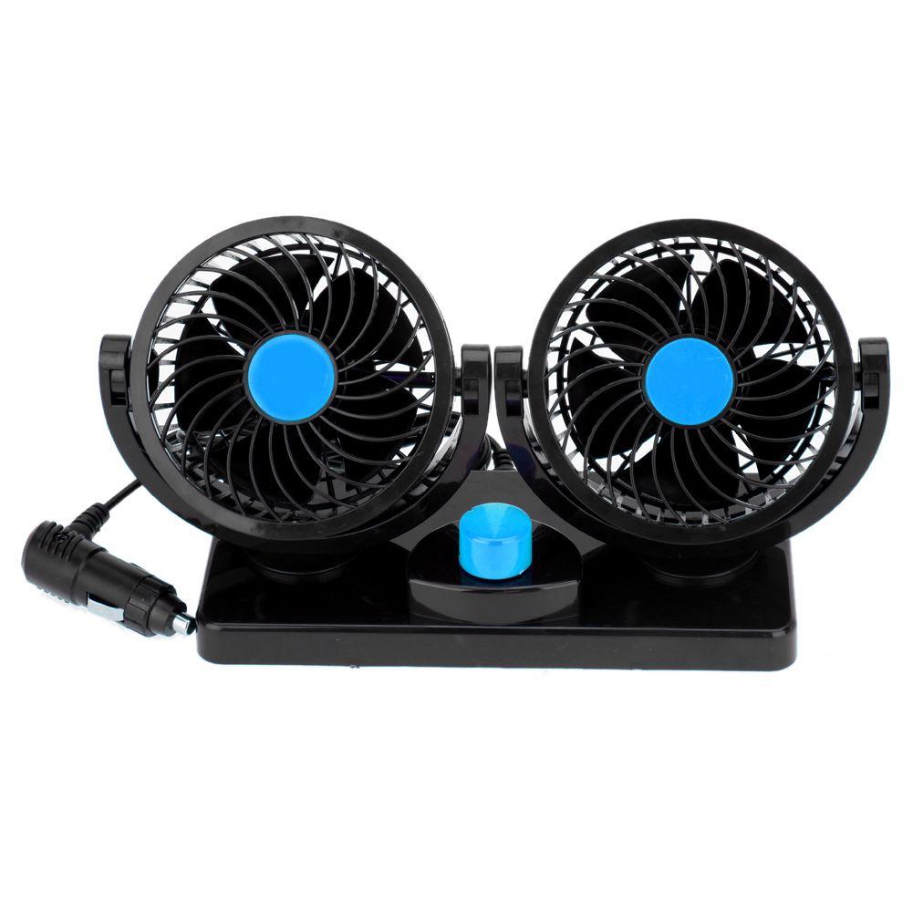DC 12V/24V Auto Car Fan 360 Degree Rotatable Powerful ABS Fans Adjustment Dual Head Car Auto Cooling Air Fan BLACK
