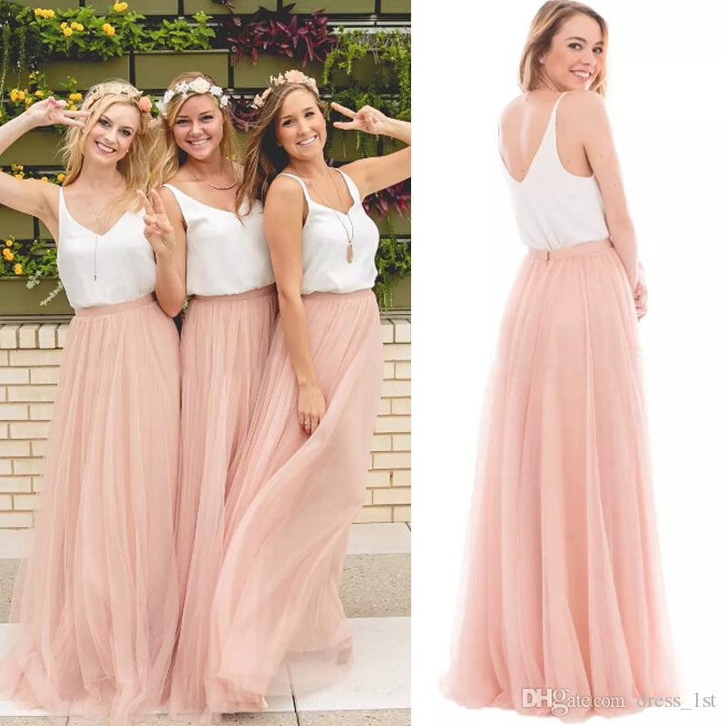 Hot Sale 2017 Blush Pink Tulle Two Piece Bridesmaid Dresses Long Cheap White V-Neck Ruched Floor Length Boho Maid Of Honor Gowns EN3041
