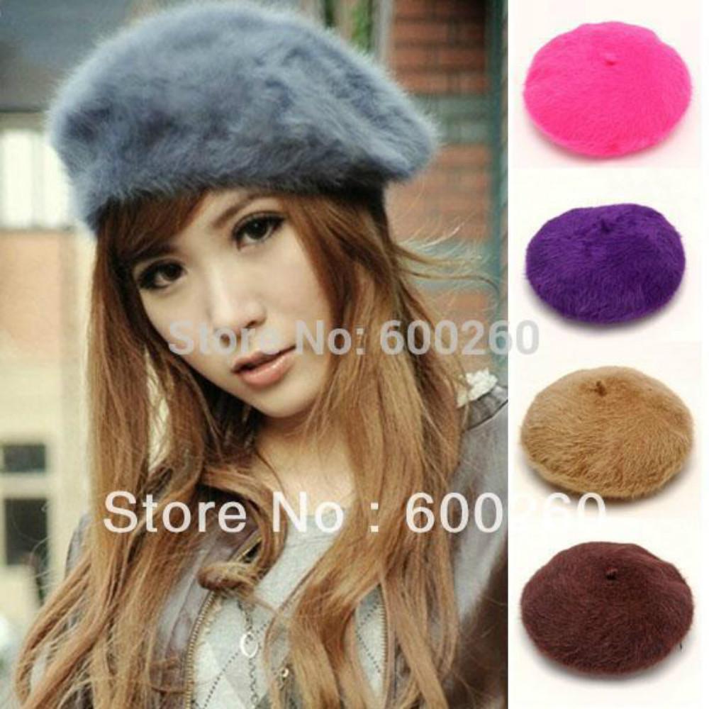 Wholesale-2016 new fashion 1pcs Women'S Elegant Multicolor Artist  Fur Lapin Newsboy Beanie Beret Hat