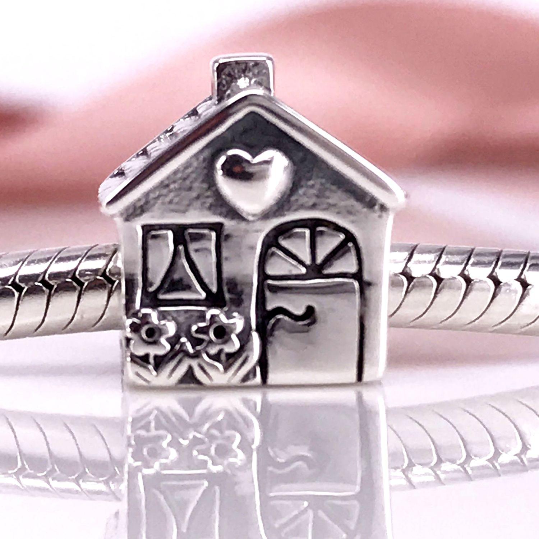 Autentica casa in argento sterling 925, bracciale Pandora fai-da-te fatto a mano con ciondolo e collana791267