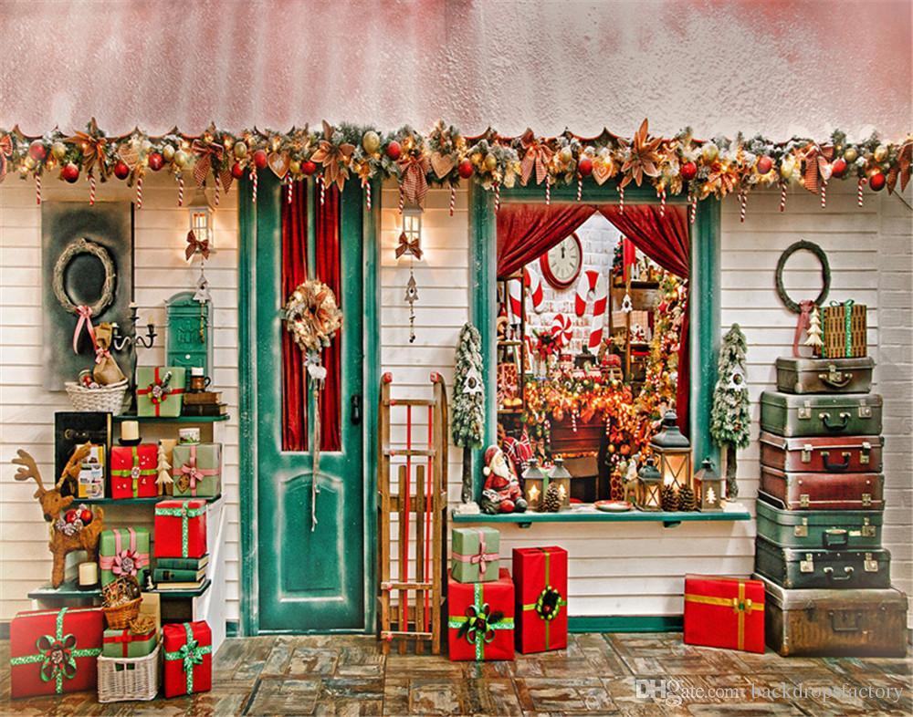 Buon Natale fondali per la fotografia Casa decorata Confezioni regalo Vintage valigie Vacanza famiglia bambini Outdoor Photo Booth Sfondi
