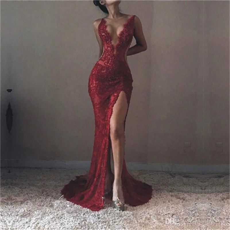 Dark Red Deep V Neck Prom Dresses Plain Sexy Lace See Through Mermaid Evening Dress Side Split Special Occasion Dresses Party Vestidos
