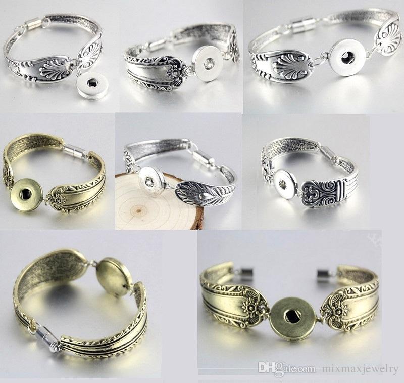 10 pezzi mix assortiti di donne zenzero 18mm con bottone a pressione charms pezzo antico argento placcato vintage catena magnete fibbia bracciali braccialetti