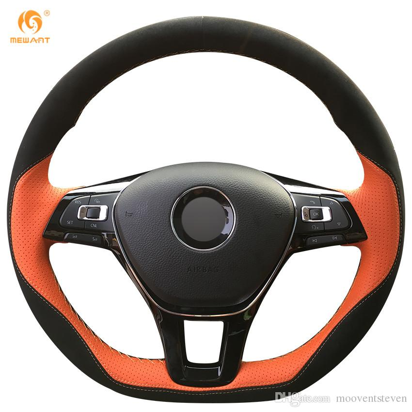 Mewant Orange Leather Black Suede Steering Wheel Cover for Volkswagen VW Golf 7 Mk7 New Polo Jetta Passat B8 Tiguan Sharan Touran Up