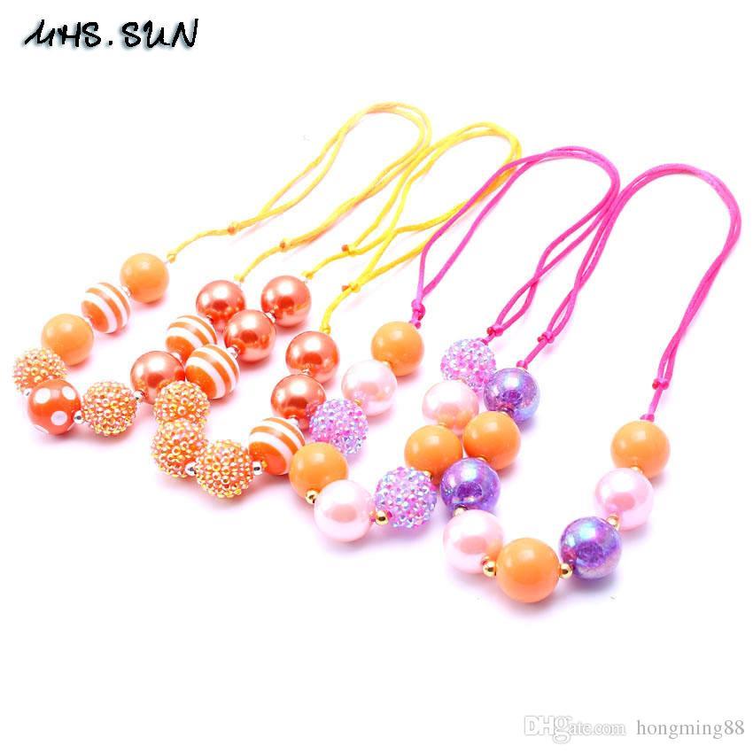 Joyería MHS.SUN más nuevo color brillante cuerda ajustado fiesta de cumpleaños collar de regalo para los niños pequeños niñas con cuentas de Bubblegum Bebés y Niños collar fornido