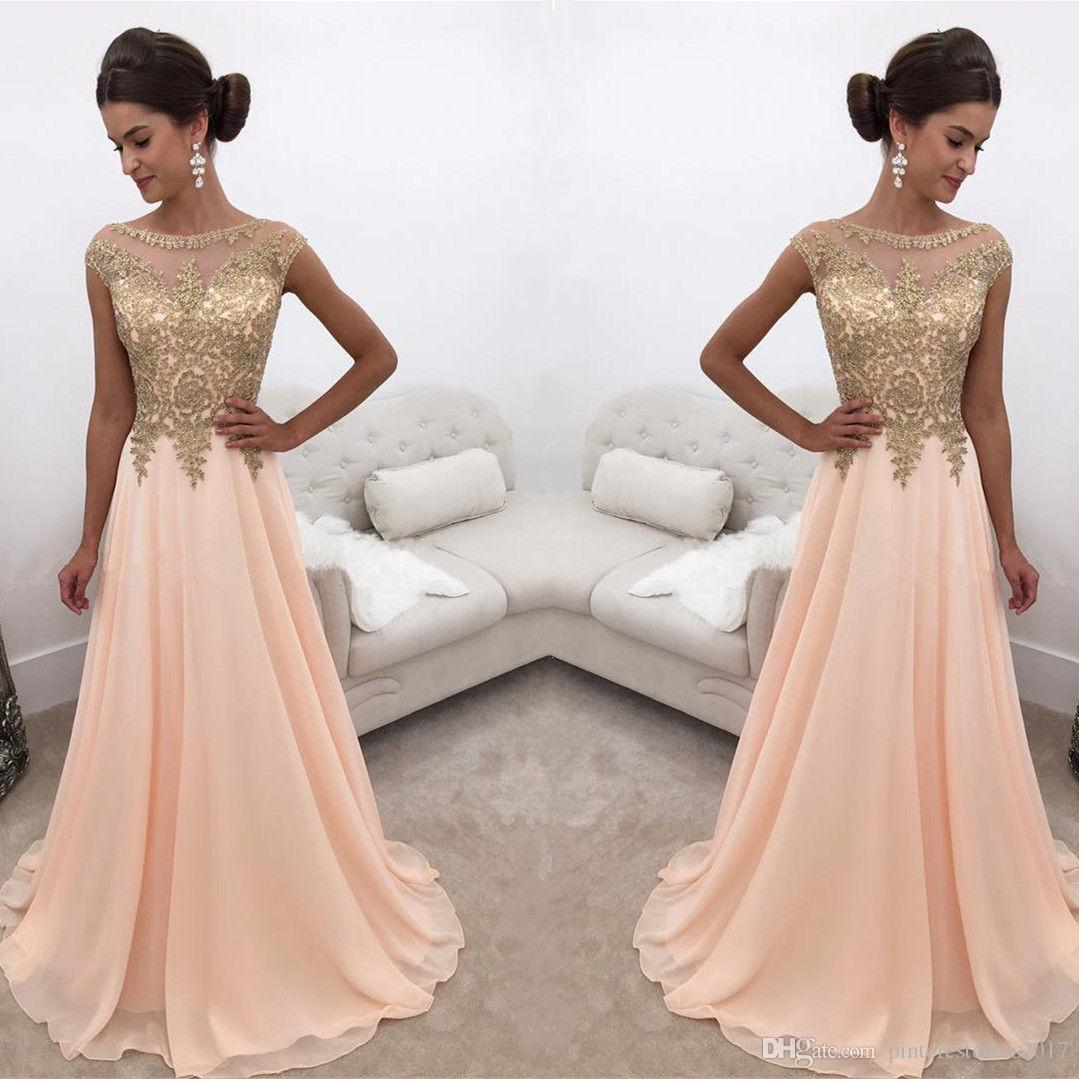 Compre Robe Demoiselle Dhonneur Vestidos De Dama De Honor De Color Durazno Largo Con Vestido Formal De Encaje Dorado Vestido De Festa A 10352 Del