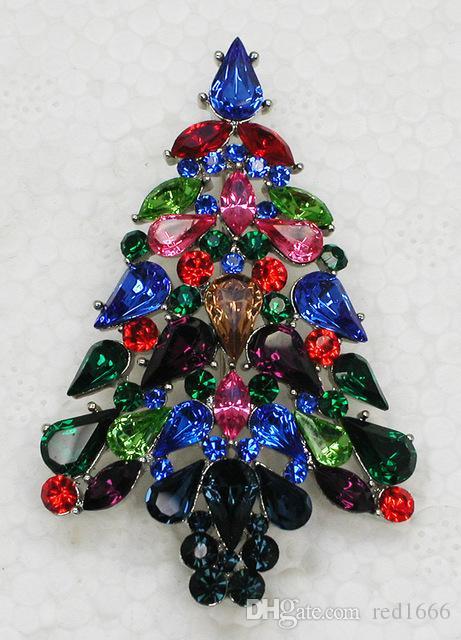 Spilla moda all'ingrosso strass marquise albero di natale pin spille regalo di natale c101552