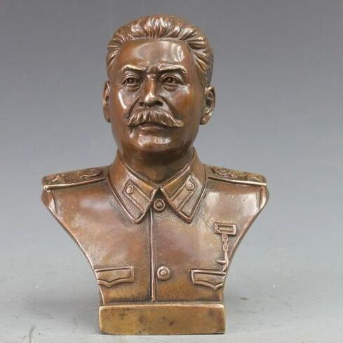 Western Bronze Cuivre Politicien Joseph Vissarionovich Staline Buste Art Statue