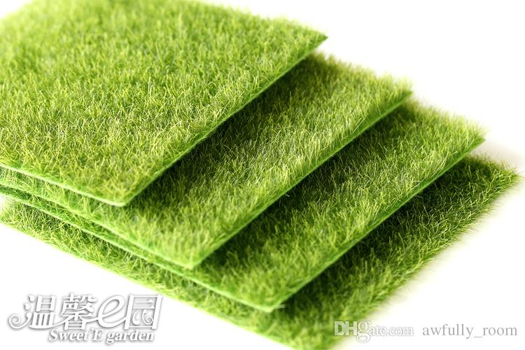 9pcs Micro Landscape Decoration DIY Simulation Plants Artificial Green Grass Mat Turf Lawn Garden Moss For Floor Decor