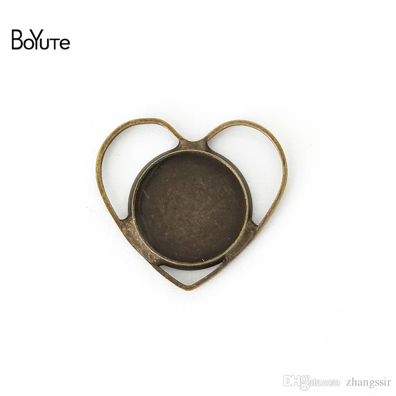 BoYuTe 40Pcs 12MM Cabochon Setting Heart Shaped Antique Bronze Silver Plated Cameo Cabochon Base DIY Jewelry Findings