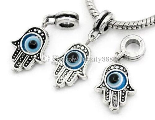 100 Pz / lotto argento tibetano Lega di mano EVIL EYE Charms Ciondola Perline Misura Braccialetto pendente Europeo Monili Che Fanno Fai Da Te 32x12mm foro 4mm