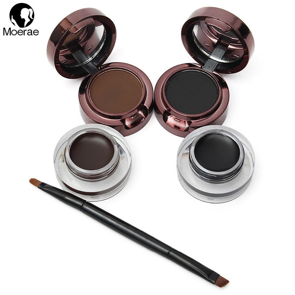 Wholesale- Hot Sale 4 In 1 Black+Brown Professional Powder Waterproof Eyebrow Eyeliner Gel Set Brush Mirror Natural Makeup Sets Cosmetic
