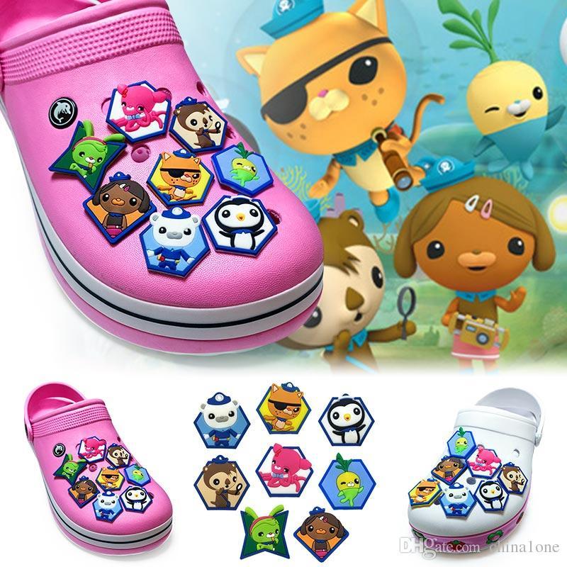 8Pcs/Lot Octonauts PVC Cartoon Shoe Charms Ornaments Buckles Fit for Shoes & Bracelets ,Charm Decoration,Shoe Accessories Party Gift