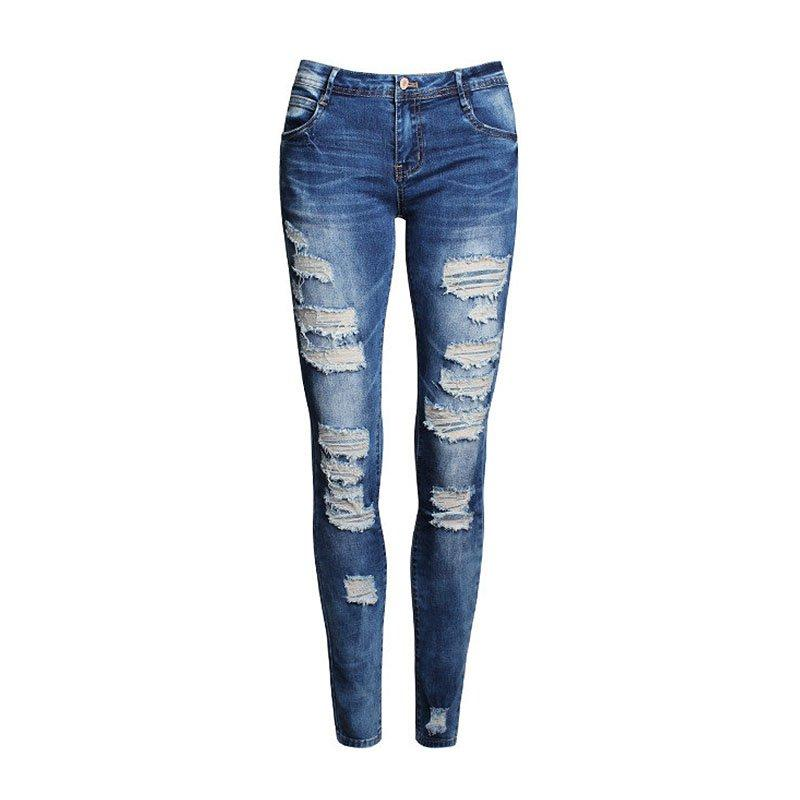 Atacado- Moda Calças Jeans Mulheres Buraco Stretch Algodão Rasgado Jeans Skinny Jeans