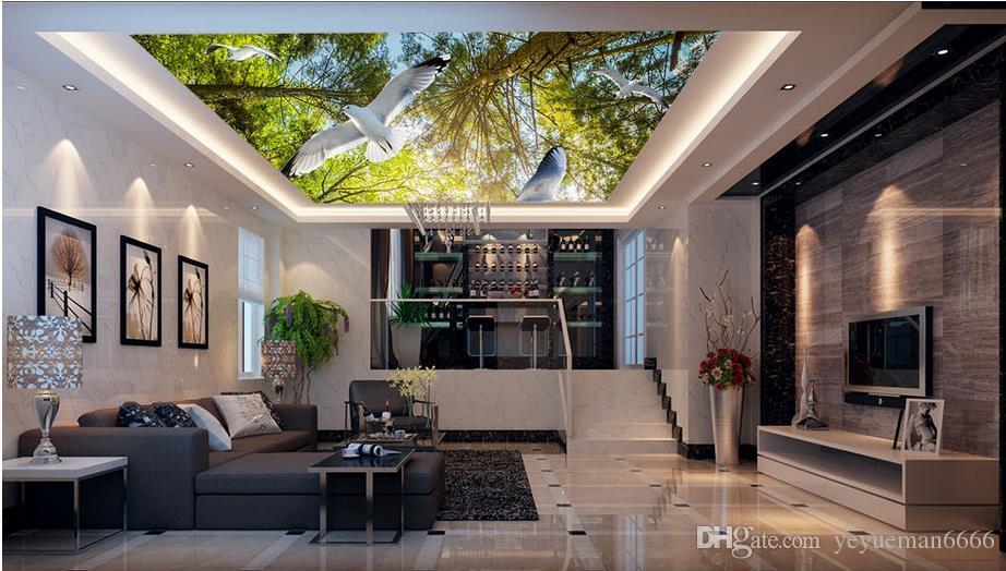 3d السقف خلفيات لغرفة النوم الجدران مخصصة 3d خلفيات لسقوف الربيع غابة الحمام خلفيات السقف 3D لغرفة المعيشة