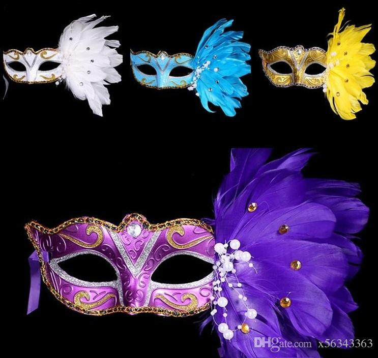 New Exquisite mystery Masked Girl Feather Half Face Painted Mask Masquerade Christmas Halloween Birthday Party Accessories MOQ:100PCS