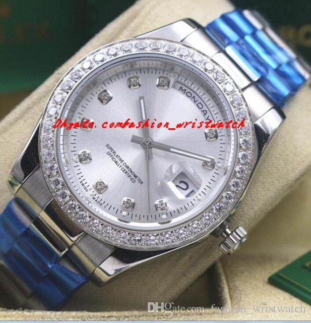 Montres de luxe pour homme Bracelet en acier inoxydable 18 carats or blanc diamant automatique de la marque de mode pour hommes montre-bracelet