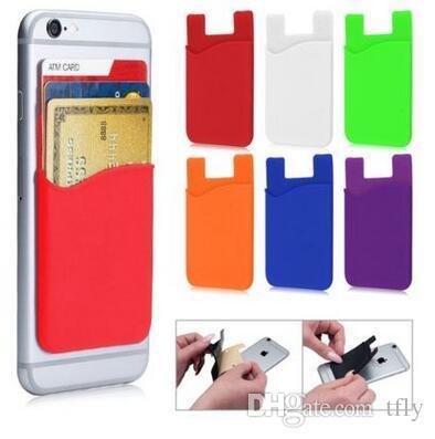 3M silicona auto adhesivo titular de la tarjeta de crédito titular de la bolsa de la etiqueta engomada para el teléfono móvil iPhone X XS MAX XR 8 7 6 más Samsung S9 nota 9