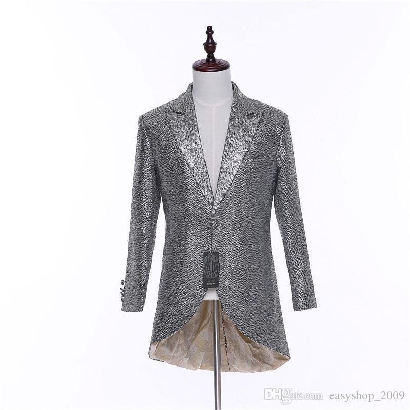 New Slim Fit Hi-Lo Men's Suits Fashion Blazer Sliver Plaid Jacket For Men High Quality Mens Business Coat CUSTOM MADE