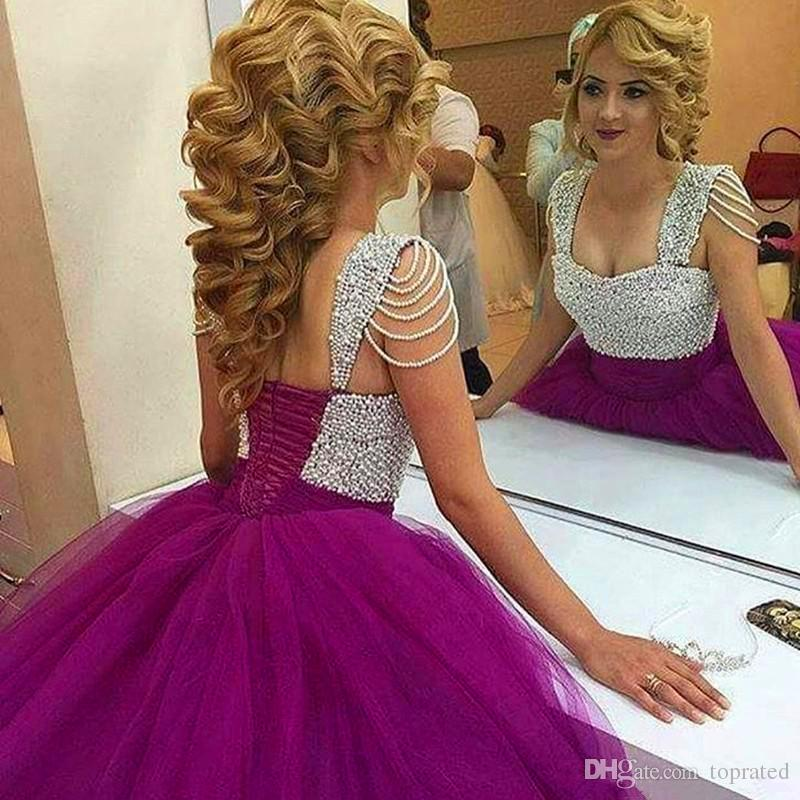 2019 Cheap Elegant Lace Quinceanera Dresses Sheer Neck Tulle Prom Ball Gowns Sweep Train Formal Dresses For 15 Years Custom Made