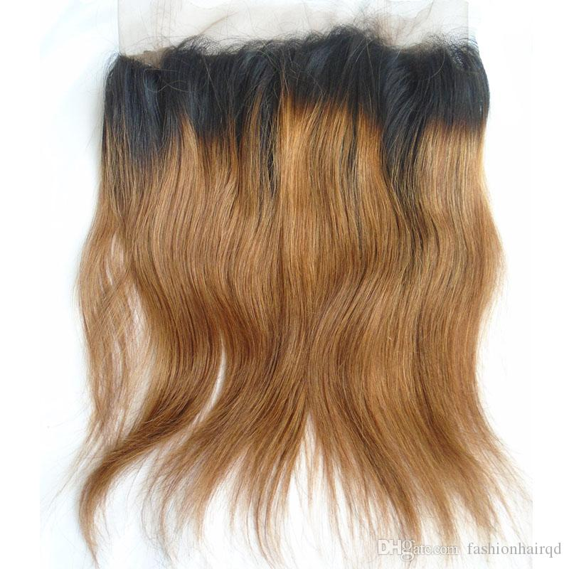 Ombre 360 Lace Frontal Closure Straight Brazilian Peruvian Indian Malaysian Virgin Human Hair Pre Plucked 360 Closure Two Tone T1b 30