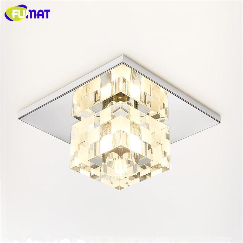 UMAT Plafonnier Cristal Carré Foyer LED Plafonnier Cristal Corridor Allée Lamparas de techo Lustre Décor Plafonnier