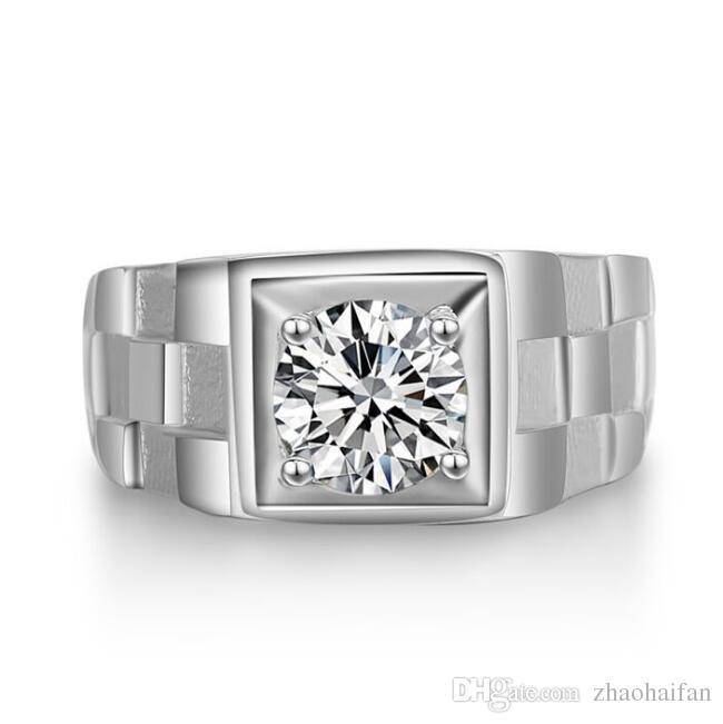 ZHF Bijoux Réel 925 Anneaux En Argent Sterling pour Homme Vente Chaude Hommes Bijoux De Mariage Anneau 0.75 Ct CZ Diamant Bague de Fiançailles