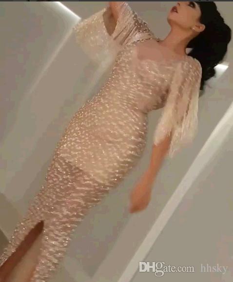 Celebrity dress Evening dress Labourjoisie Mermaid Crystal Yousef aljasmi Beads Zuhair murad Long dress Tassels Kim kardashian
