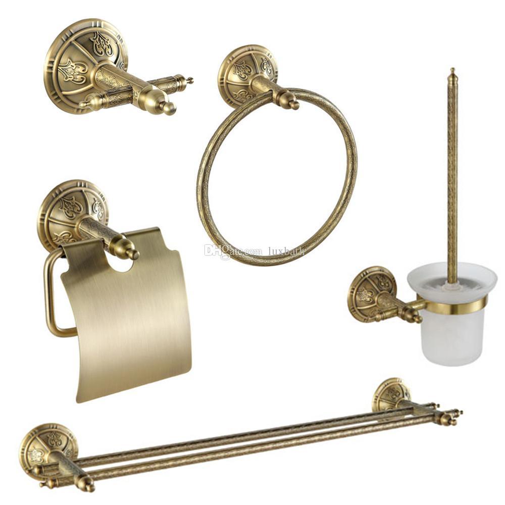 2017 all'ingrosso lussuoso in ottone massiccio bronzo antico gancio gancio porta carta igienica portasciugamani 5pcs set hardware bagno
