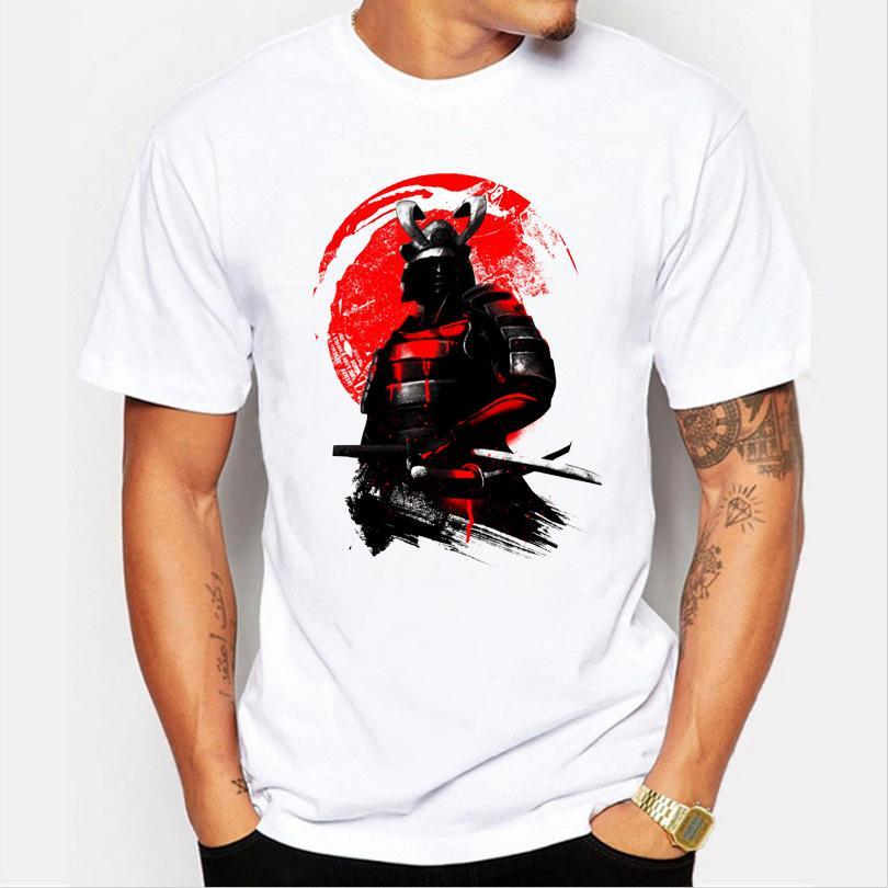 2017 moda hombre de manga corta Samurai Warrior camiseta Harajuku camisetas divertidas Hipster O-cuello tops frescos